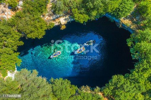 823335112 istock photo Famous melissani lake on Kefalonia island, Greece 1174443236