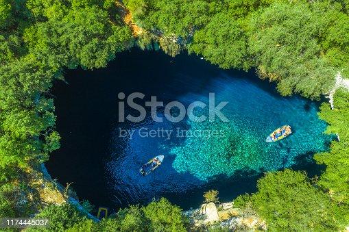823335112 istock photo Famous melissani lake on Kefalonia island, Greece 1174445037