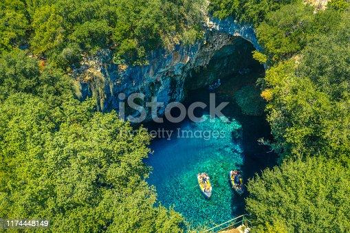 823335112 istock photo Famous melissani lake on Kefalonia island, Greece 1174448149