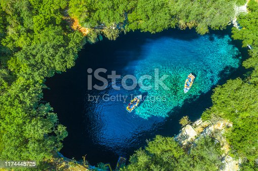 823335112 istock photo Famous melissani lake on Kefalonia island, Greece 1174448725