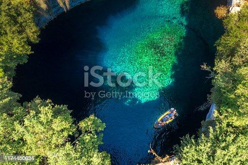 823335112 istock photo Famous melissani lake on Kefalonia island, Greece 1174450634