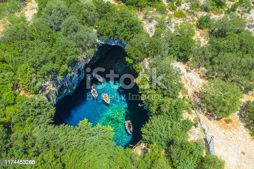 823335112 istock photo Famous melissani lake on Kefalonia island, Greece 1174453268