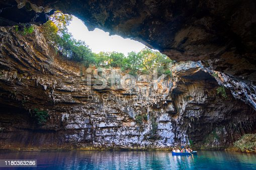 823335112 istock photo Famous melissani lake on Kefalonia island, Greece 1180363286