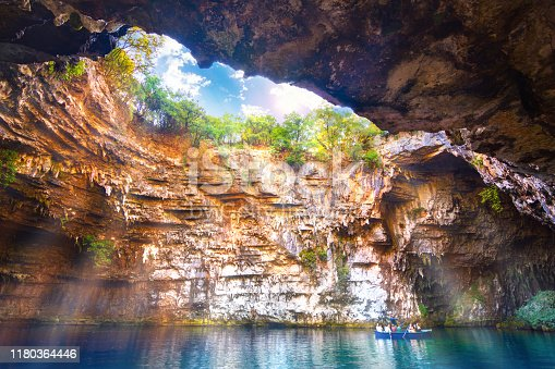 823335112 istock photo Famous melissani lake on Kefalonia island, Greece 1180364446
