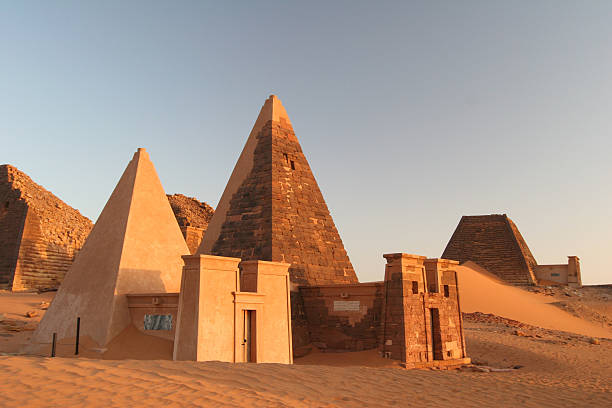 famous meroe pyramids - sudan stock photos and pictures