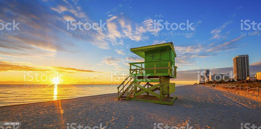 Famous Miami South Beach sunrise stock photo