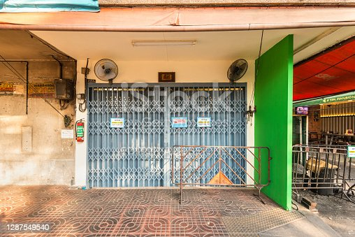Bangkok, Thailand - December 7, 2019: View of the closed Jay Fai restaurant. This is famous Michelin starred street food Restaurant in Bangkok, Thailand.