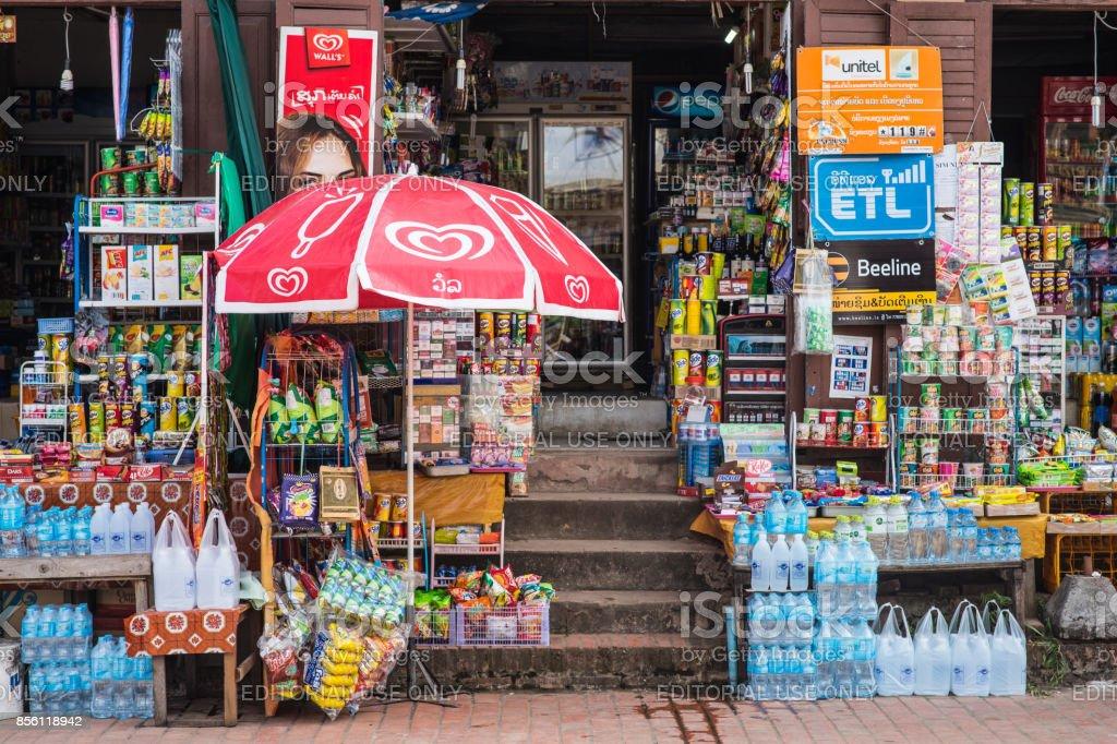 A famous mini-mart in Luang Prabang stock photo