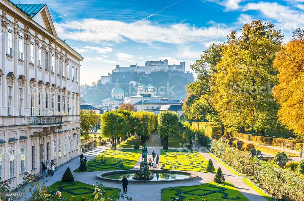 Famous Mirabell Gardens with historic Fortress in Salzburg, Austria stock photo
