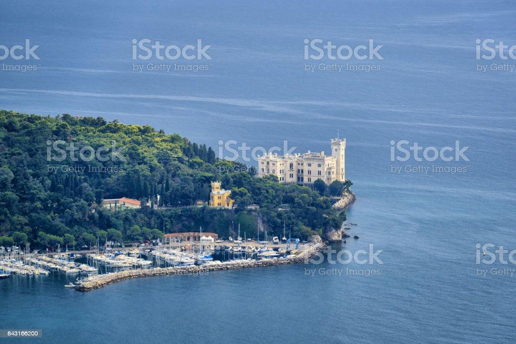 Famous Miramare castle on the Adriatic Sea coast stock photo