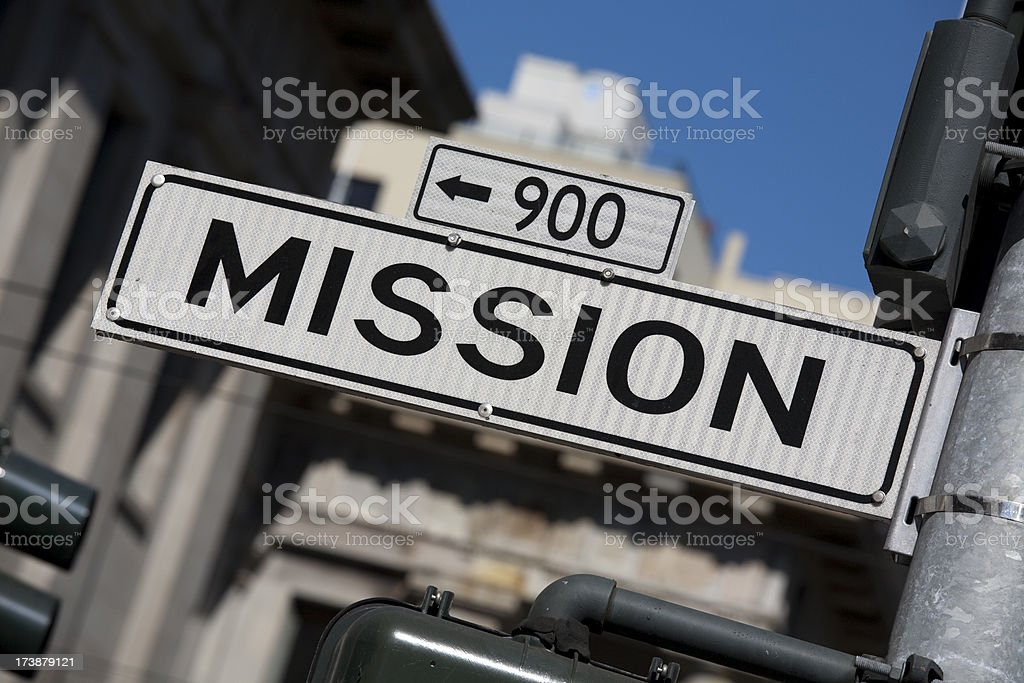 Famous Mission St San Francisco, Angle stock photo