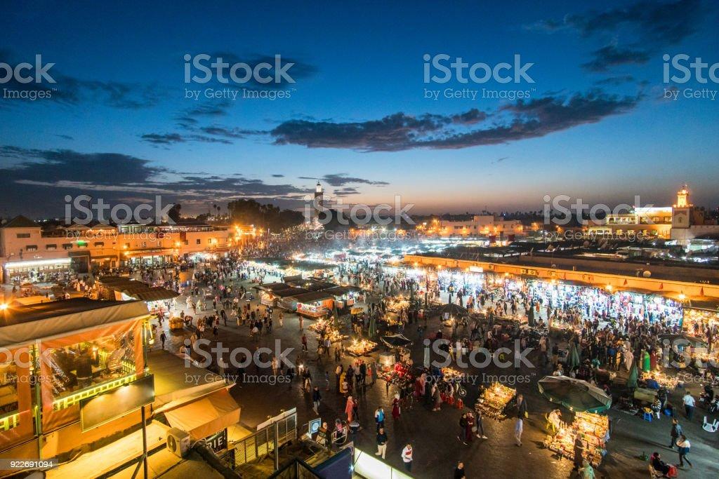 Famous Moroccan market square Jamaa el Fna in Marrakesh medina quarter, called also Jemaa el-Fnaa, Djema el-Fna or Djemaa el-Fnaa stock photo