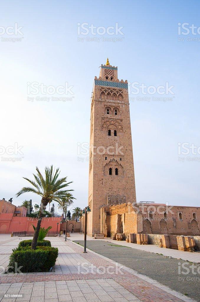 Famous mosque of Marrakech - Morocco stock photo