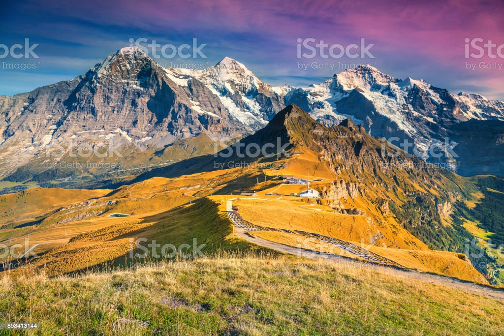 Famous mountain Mannlichen tourist station, Bernese Oberland, Switzerland, Europe stock photo