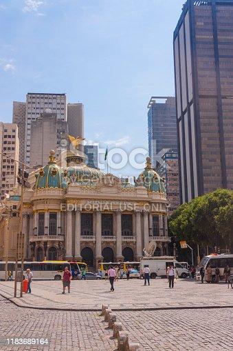Rio de Janeiro, Brazil - September 20, 2018: Famous Municipal Theatre building in the downtown business district center of Rio de Janeiro.
