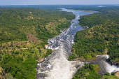 Murchison Falls (also known as Kabalega Falls) at the Nile River in Uganda. The Falls are in the Murchison Falls National Park, which is one of the main tourist destinations in Uganda. The location is between Lake Kyoga and Lake Albert on the Victoria Nile.