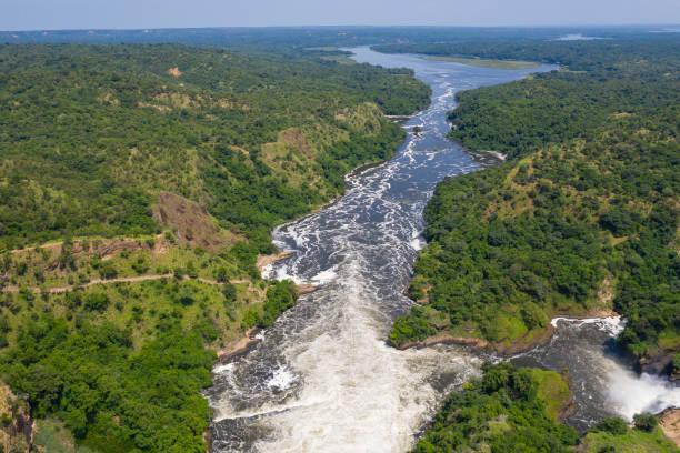 Famous Murchison Falls at Nile River, Uganda stock photo