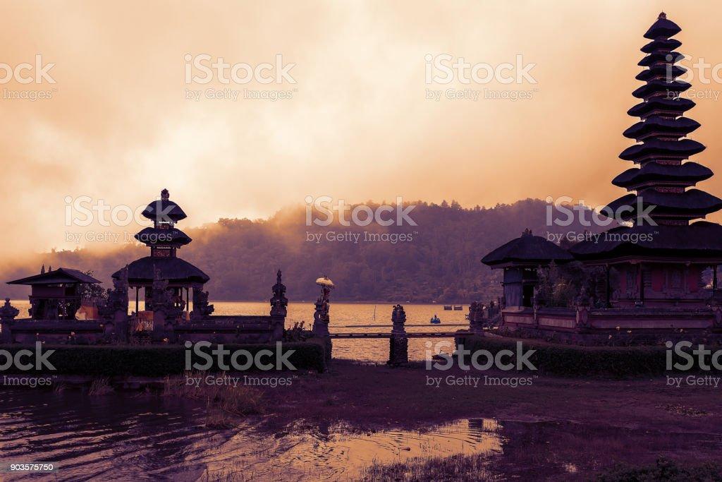 famous mystical Pura Ulun Danu water temple, bali stock photo