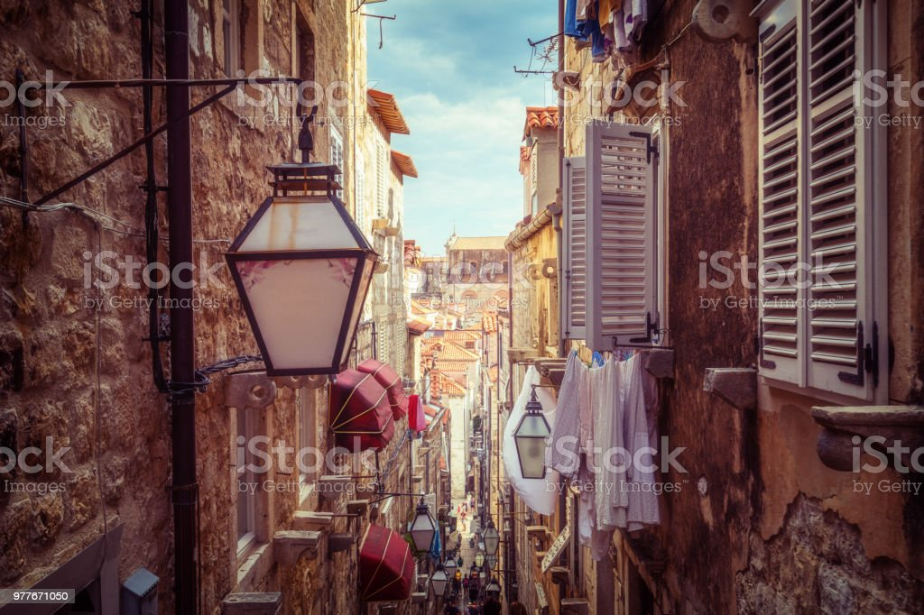 Famous narrow alley of Dubrovnik old town, Croatia stock photo