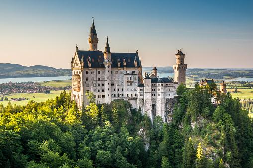 Famous Neuschwanstein Castle with scenic mountain landscape near Fussen, Germany