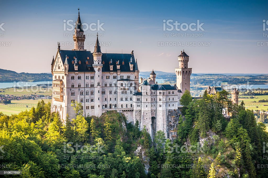 Famous Neuschwanstein Castle with scenic mountain landscape near Fussen, Germany stock photo