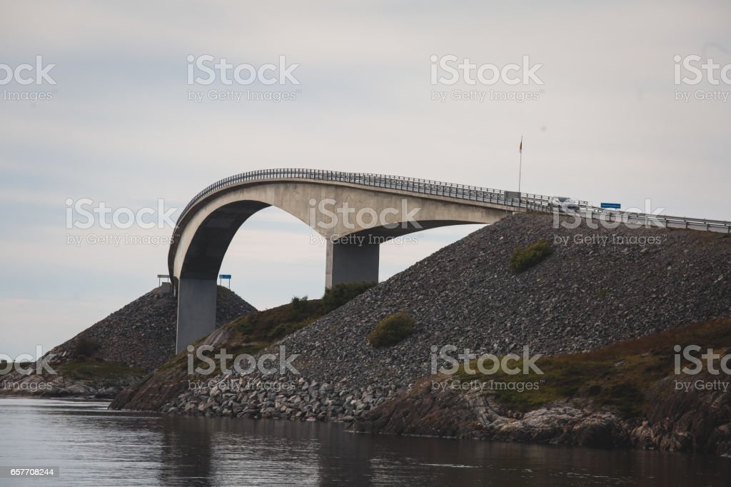Famous norwegian Atlantic Ocean Road, is an 8.3-kilometer long section of Road that runs through an archipelago, built on several small islands and skerries, Norway.'n stock photo