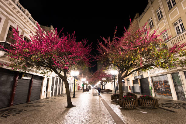 famous november 15 walkway at night - curitiba stock photos and pictures