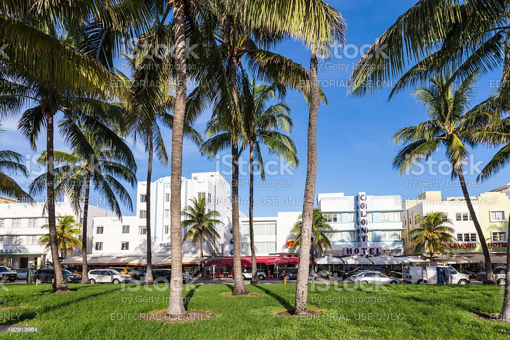 famous Ocean Drive Avenue in Miami with palm trees stock photo