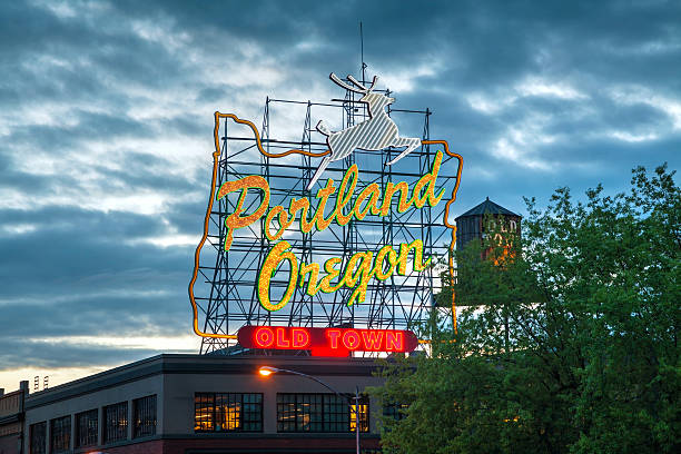 Famous Old Town Portland, Oregon neon sign stock photo