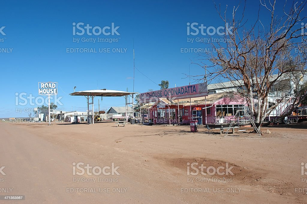 Famous Oodnadatta Track Pink Roadhouse, South Australia Outback stock photo