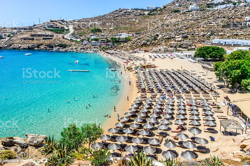 Best Island Beaches For Partying Mykonos St Barts: Famous Paradise Beach Mykonos Greece Stock Photo