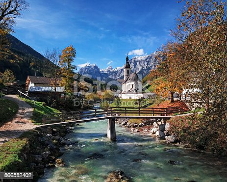 High up view of famous Parish church St. Sebastian at autumn, in Ramsau, Berchtesgaden, Bavarian Alps, Germany