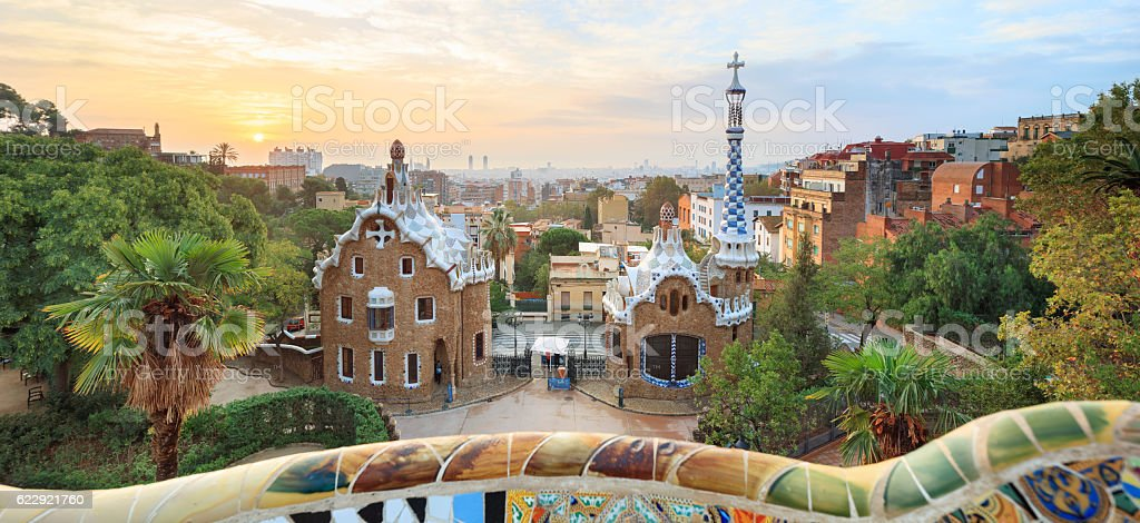 Famous Park Guell, Spain stock photo