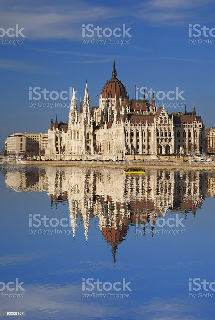 Famous Parliament with river in Budapest, Hungary stock photo