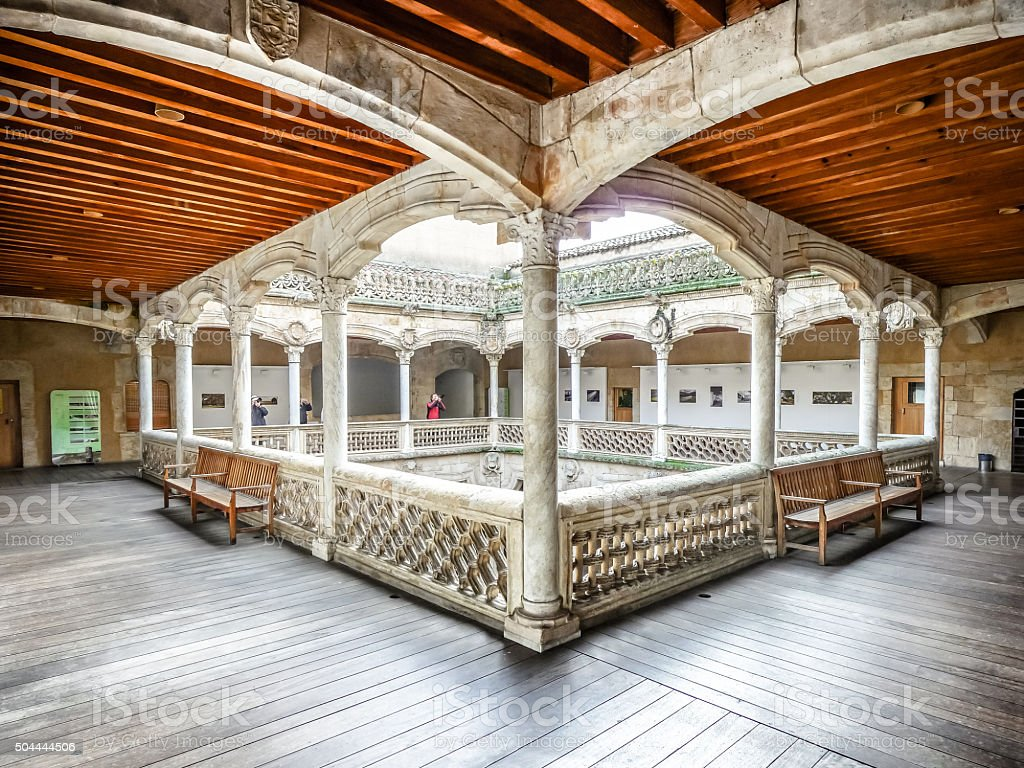 Famous Patio de la Casa de las Conchas, Salamanca, Spain stock photo