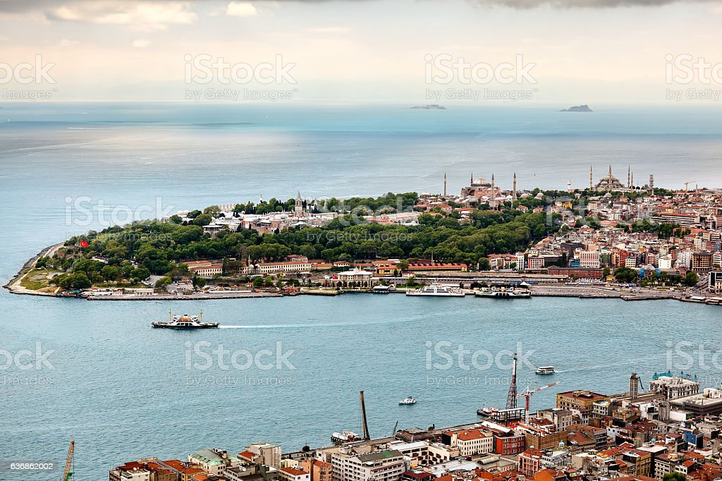 Famous peninsula of Istanbul. Old city. stock photo