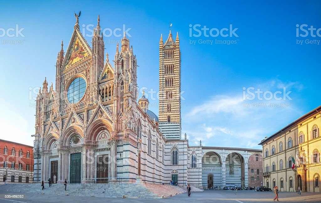 Famous Piazza del Duomo with historic Siena Cathedral, Tuscany, Italy stock photo