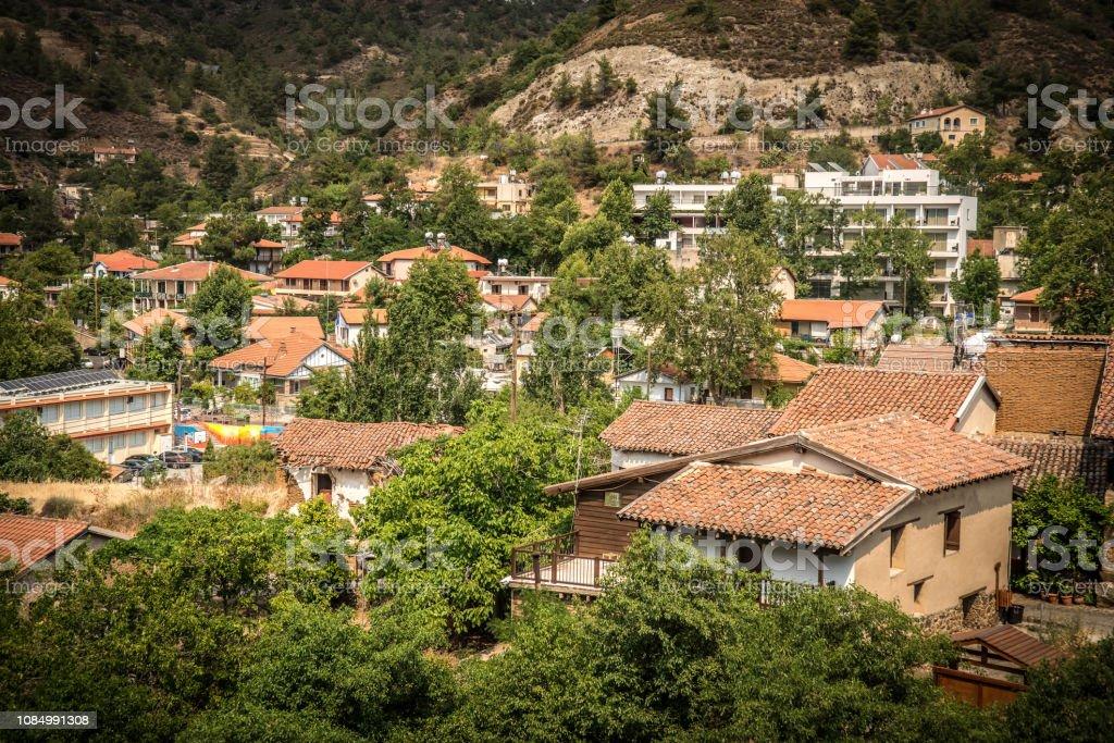 Famous picturesque Mountain Village resort of Kakopetria. Nicosia district, Cyprus stock photo