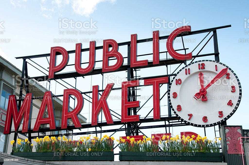 Famous Pike Place Market royalty-free stock photo