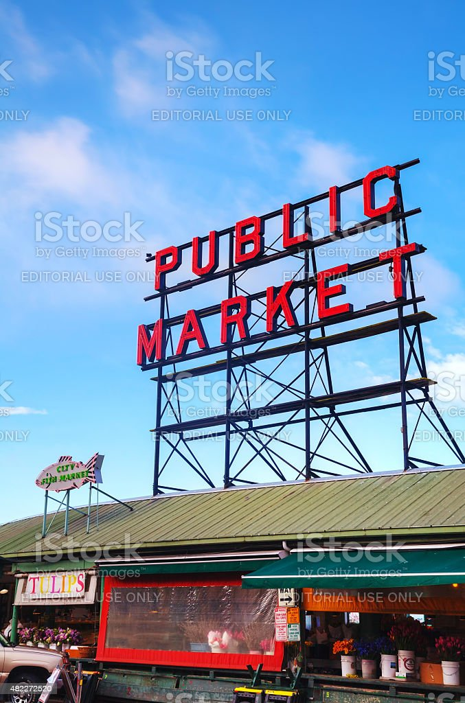 Famous Pike Place market sign in Seattle stock photo