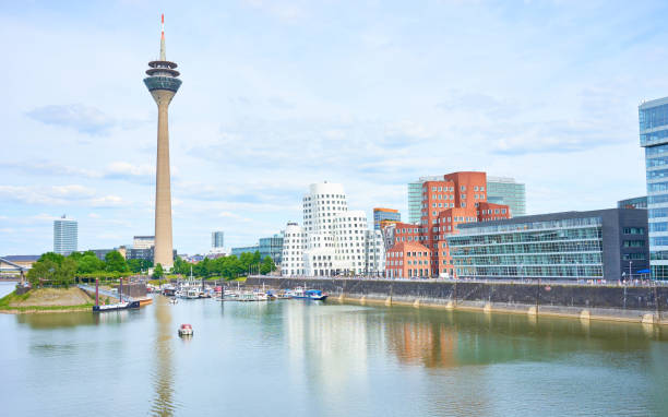 Famous place with buildings in Dusseldorf stock photo