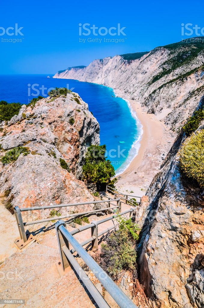 Famous Platia Ammos beach in Kefalonia island, Greece. The beach was affected by the earthquake in the spring of 2014 and it is very difficult to go down on the beach stock photo