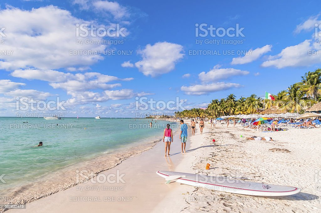 famous Playa del Norte beach in Isla Mujeres, Mexico stock photo
