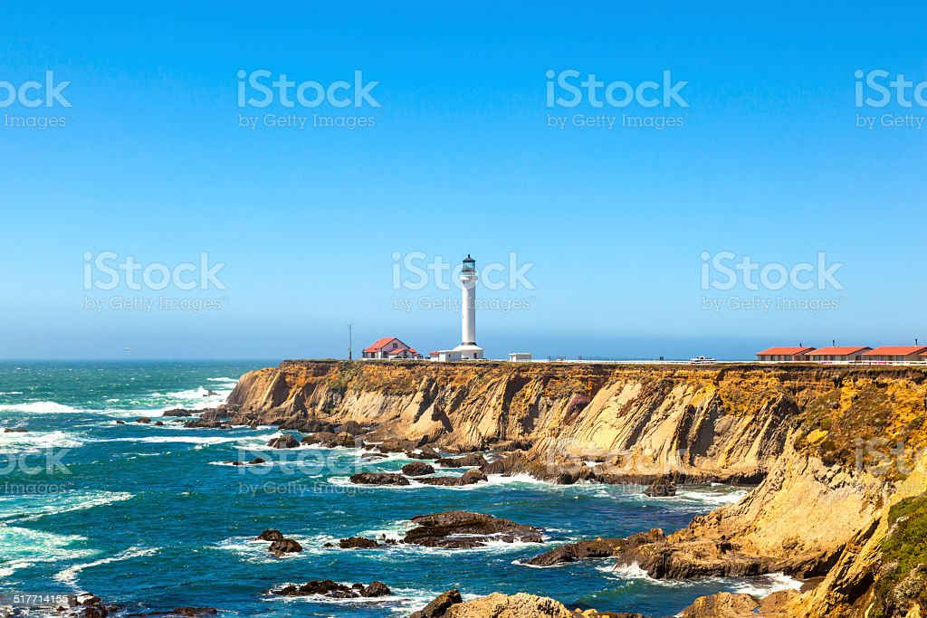 famous Point Arena Lighthouse in California stock photo