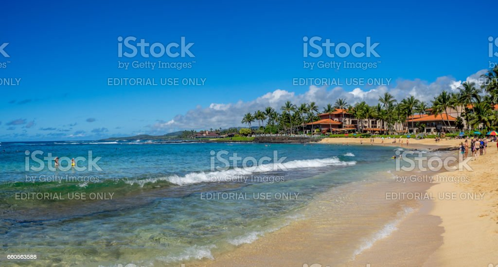 Famous Poipu Beach, Kauai stock photo