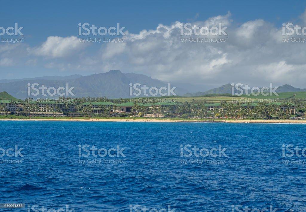 Famous Poipu beach on Kauai stock photo