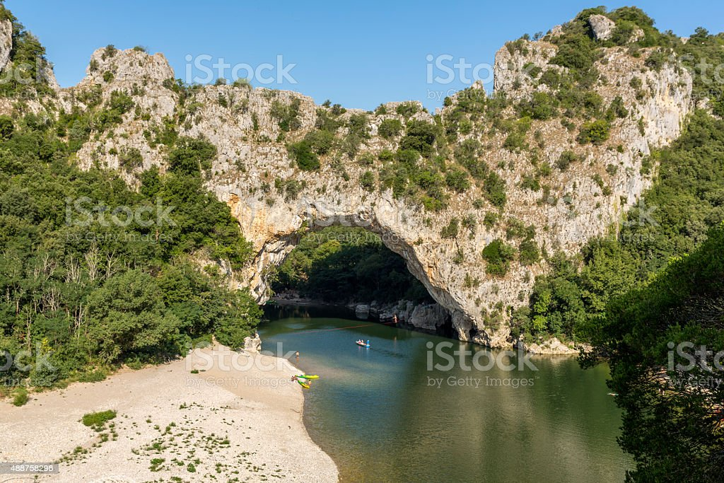 Famous Pont d'arc and the river Ardeche, France stock photo