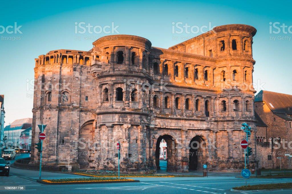 Famous Porta Nigra in Trier at sunrise, Rheinland-Pfalz, Germany stock photo