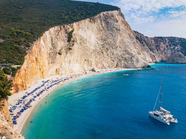Famous Porto Katsiki beach, Lefkada (Levkas) island, Greece stock photo