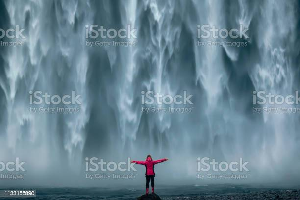 Photo of Famous powerful Skogafoss waterfall at south Iceland